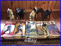 HUGE VINTAGE Louis Marx Johnny West Western 5 Action Figures 4 Horses Lot with Box