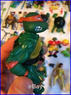 HUGE Vintage Teenage Mutant Ninja Turtles Action Figure Toy Lot TMNT Accessories
