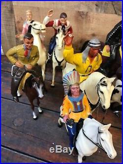 Hartland 1950s Plastic Horses, Cowboys, Indians 15 figures and 15 horse R Rogers