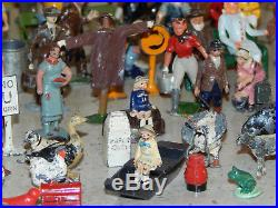 Huge Lot Lead Toy Figures Barclay Manoil Britains Passenger Animal Train Scenery
