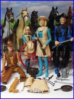 Huge Lot Vintage Marx Johnny West Action Figures Horse Set Accessories 12 1960s