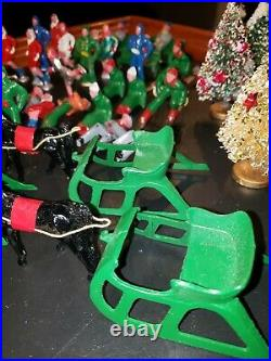 Huge Lot of 71 Vintage Barclay Winter Christmas Lead Metal Figures with Trees