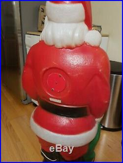 Huge Vintage Empire 46 Lighted Christmas Blow Mold Santa Claus With Toy Sack