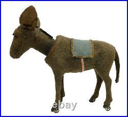 Large Antique Mohair Donkey Nodder On Wheels Germany Bobblehead Santa Christmas