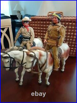 Lone Ranger Tonto Silver and Scout 1973 Gabriel Action Figures Set