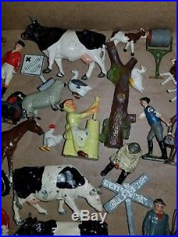 Lot Of 50 + Lead Figures Britain's Barclay Farm Animals People