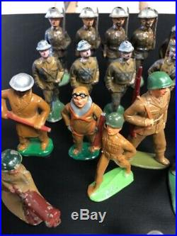 Lot Of X 33 Lead Miltary Figures Barclay Etc. Vintage All Sizes