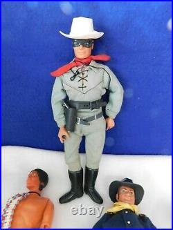 Lot of 7 Gabriel 1973 Lone Ranger Action Figures With Accessories