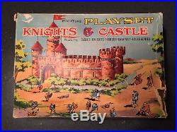 Louis Marx miniature playset Knights & Castle with Box, Figures, Castle, Access
