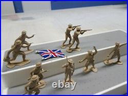 MARX BATLLEGROUND EUROPE BRITISH FIGURE LOT (9) GENUINE 1965 With METAL FLAG