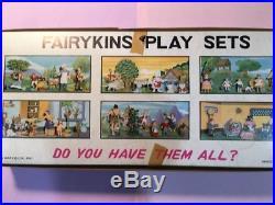 Marx Fairykins triple play set gift box with miniature plastic fairytale figures