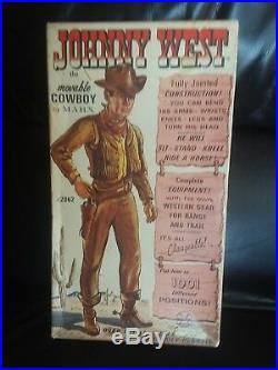 Marx Johnny West figure and horse Thunderbolt with Johnny's box