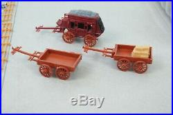 Marx Miniature Western Town 80+ Figures, + Wagons+ Buildings +Animals MORE