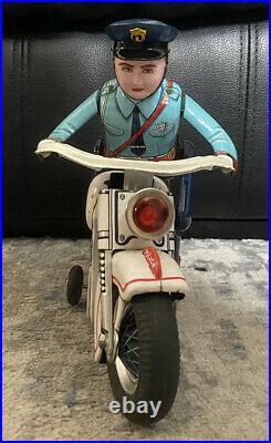 Masudaya electric police bike Tin Toy Motorcycle Figure Japan