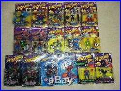 NIB Spider-Man Toys Toy Biz Figures Lot of 16 Collectible Mid 90s Marvel Vintage