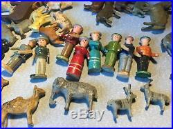 Noah's Ark 86 pieces, Erzgebirge Putz German wooden animals / personnages