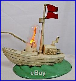 POPEYE IN HIS BOAT 1930s AEROLUX FIGURE ILLUMINATING LAMP WORKS