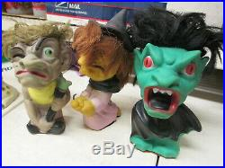 Play-Pal 1964 monster toy rubber figure doll Witch Vampire Dracula Hunchback