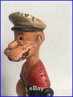 RARE 1930s HUBLEY cast iron POPEYE Doorstop figure toy antique vintage Americana