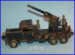 RARE 1930s TIPPCO Germany 11 Anti Aircraft Gun TRUCK clockwork 2 WW2 figures