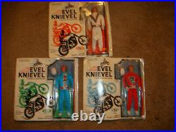 RARE 3 SET Evel Knievel Action Figure Doll, white, red, blue mint on CARD NRFB