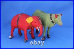 RARE ANTIQUE GERMAN RED & GREEN ANIMAL PULL TOYS WITH WHEELS c1900