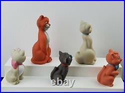RARE Disney Aristocats Set of 5 Soft Rubber 6 Squeak Bath Toy Figures Vintage