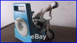 RARE Ideal Evel Knievel Stunt Cycle Toy Motorcycle Blue Gyro Energizer Figure