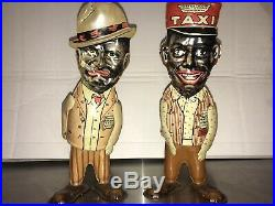 RARE PAIR 1930's Marx Toys Tin Wind-up Fresh Air Taxi Amos & Andy Walker Figures