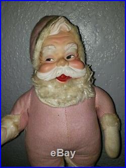 RARE VTG 50s 60s Rushton Pink Santa Claus Rubber Face Doll Toy Christmas VINTAGE