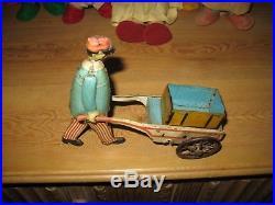 Rare 1910 Railway Luggage Porter Tinplate Figure Germany Antique Tin Toy Trains