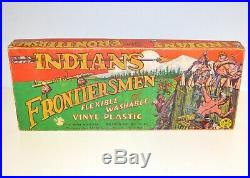 Rare 1950s Marx Indians & Frontiersman Plastic Figure Set Mint in Original Box