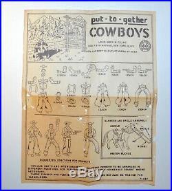 Rare 1950s Marx Put-Together Cowboys Plastic Figure Set Mint in Original Box