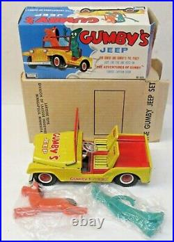 Rare 1960's GUMBY Lakeside Toys tin litho JEEP set with both boxes and figures