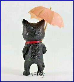 Rare Antique Celluloid Felix the Cat with Pink Umbrella Rattle Figure