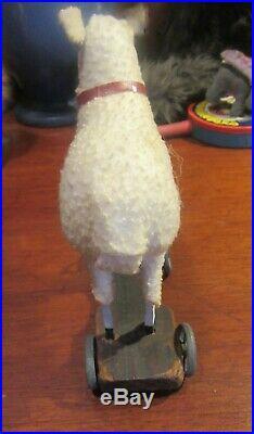 Rare German Large Putz Sheep Lamb Pull Toy Original colar & bell Metal Wheels
