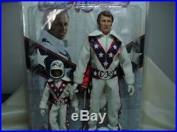 Rare L. E. EVEL KNIEVEL 12 & 8 Action Figure Set #17/100 Figure Toy Company