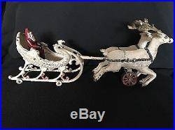 Rare Original 1909 HUBLEY Cast Iron Sleigh with Santa and 2 Reindeer, Christmas