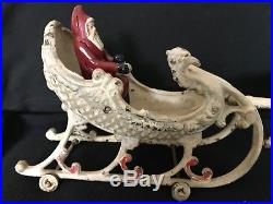 Rare Original 1909 HUBLEY Cast Iron Sleigh with Santa and 2 Reindeer, Christmas