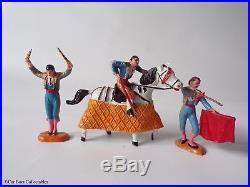 Reamsa or Jecsan Bullfighting Figure Set, Vintage Plastic Toy Soldiers Matador
