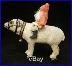 Santa on Polar Bear Pull Toy 1920's Vintage Christmas Saint Nickolas