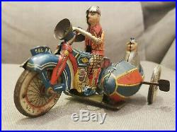 Scarce Ingap Wind-Up Motorcycle & Sidecar with 2 Figures, Italy, 1934