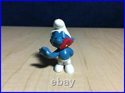 Smurfs 20019 Red Flower in Mouth Smurf Rare Vintage Figure PVC Toy Figurine Peyo