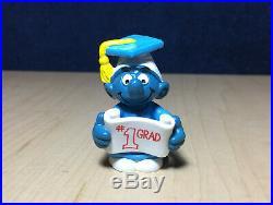 Smurfs 20195 # 1 Grad Smurf Graduate Rare Vintage Figure PVC Toy Peyo Figurine