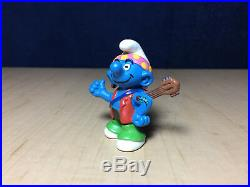 Smurfs 20517 Hippie Smurf Guitar Earring Tattoo Vintage Figure PVC Toy Figurine