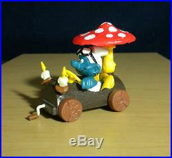 Smurfs 40232 Log Car Super Smurf Rare Vintage Figure PVC Toy Figurine Peyo 80s