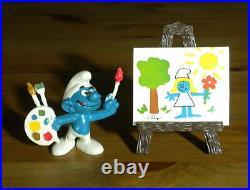 Smurfs Artist Super Smurf 40239 Painter Brush Vintage Toy Figure PVC Figurine HK