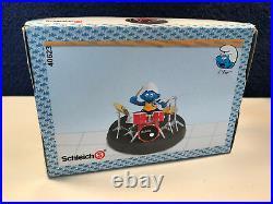 Smurfs Drummer Super Smurf Drum Play Set Vintage Figurine Toy PVC Figure 40623