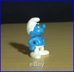 Smurfs Hefty Smurf 20429 Heart Tattoo Rare Vintage Figure PVC Toy Figurine Peyo