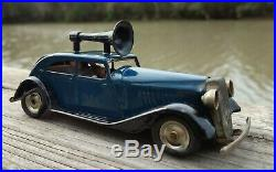 Tri-Ang Minic Police Car w Loudspeaker & 2 Figures Tin Toy Wind-Up Vintage
